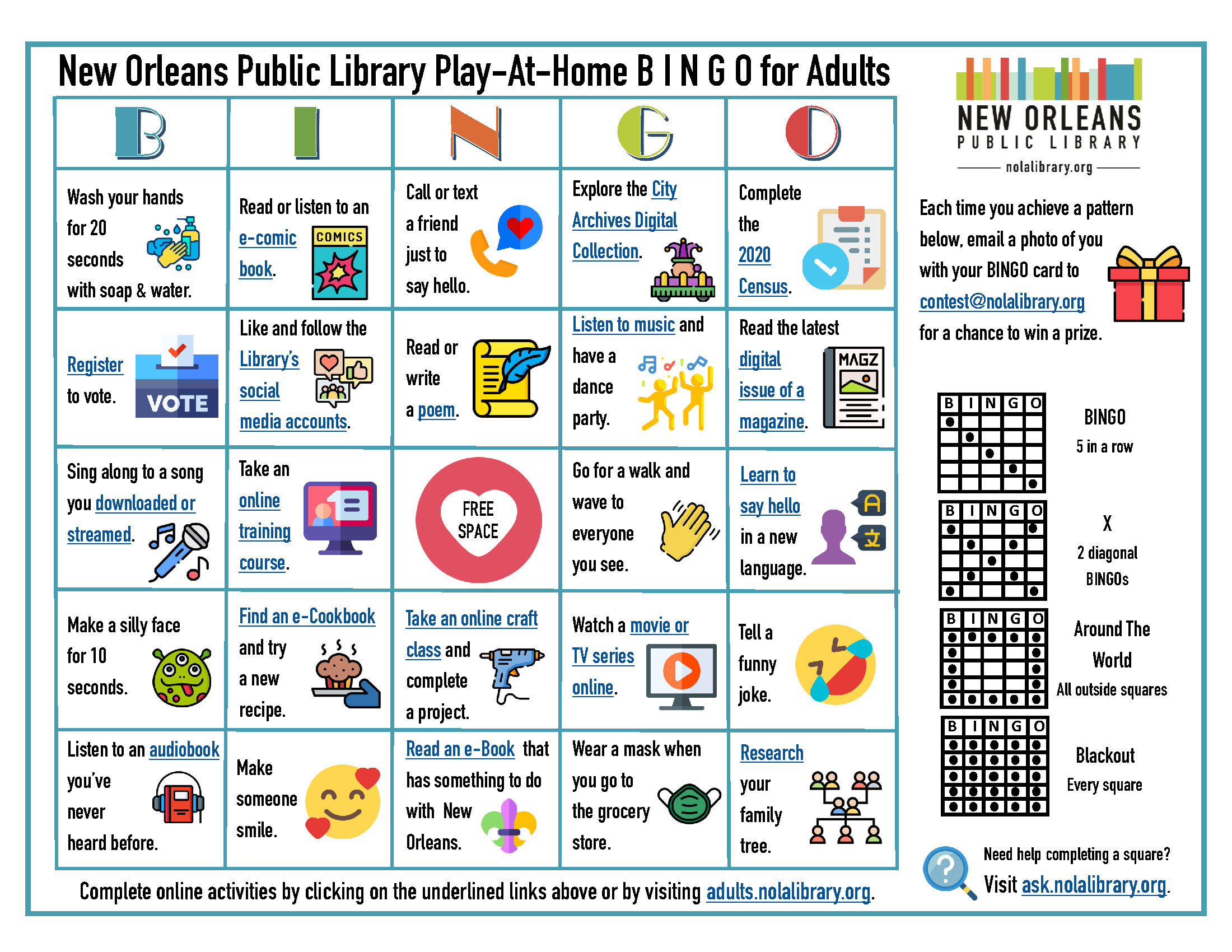 Play-At-Home Bingo for Adults