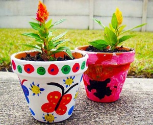 Decorating Flower Pots and Planting Seeds